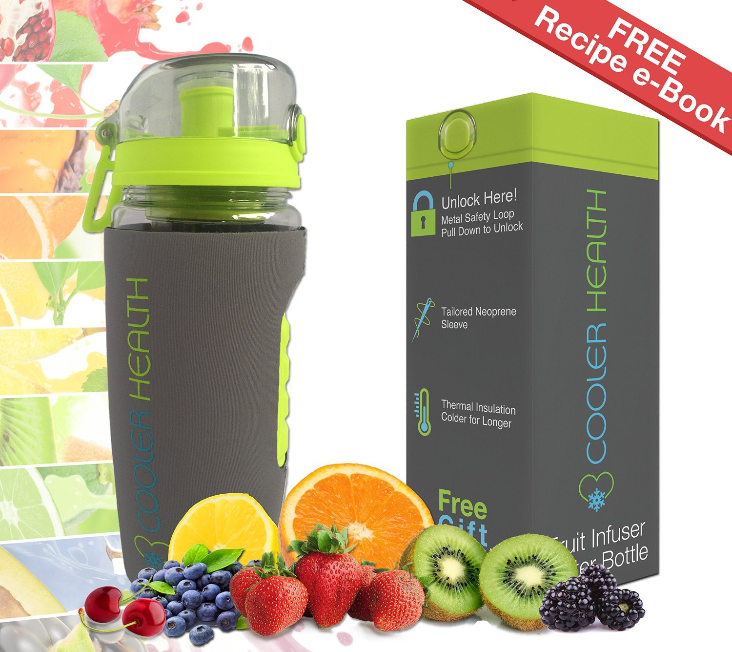 fruit smack water bottle with fruit infuser