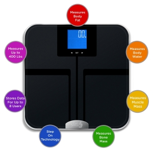 EatSmart Precision GetFit Digital Body Fat Scale w-400 lb. Capacity & Auto Recognition Technology