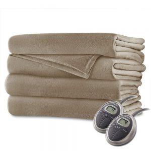 Sunbeam - Queen Size Heated Blanket Luxurious Velvet Plush